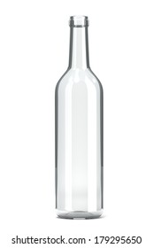 Empty Single Transparent Glass Bottle on White Background