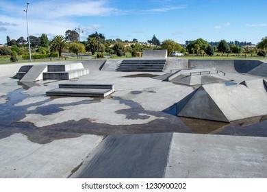 Empty Skate Park After A Rain