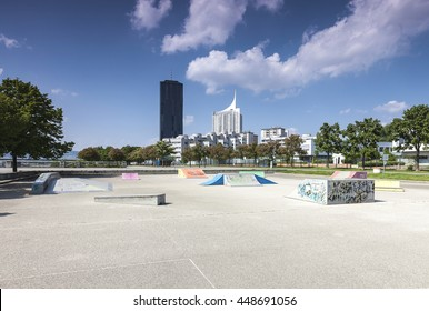 Empty skate park at the Vienna Danube Island - one of the most interesting extensive public recreation area with the new DC-Tower - the tallest skyscraper in Austria.