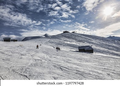Empty ski domain located at high altitude in Alps in  Beaufortain Massif in Haute-Savoie close to Mont Blanc. In the distance can be seen Mont Joly peak at  2525 m .