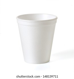 Empty small insulated styrofoam or foam takeaway coffe cup with clipping path