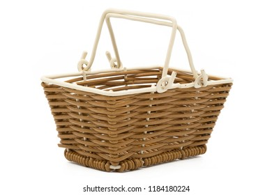 The empty small square basket isolated on white background, clipping path included.