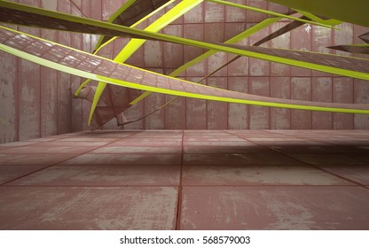 Empty smooth abstract room interior of sheets rusted metal with glossy green surface. Architectural background. 3D illustration and rendering