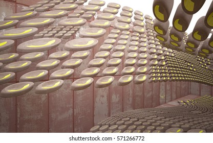 Empty smooth abstract room interior of sheets rusted metal and brown concrete with glossy green surface. Architectural background. 3D illustration and rendering