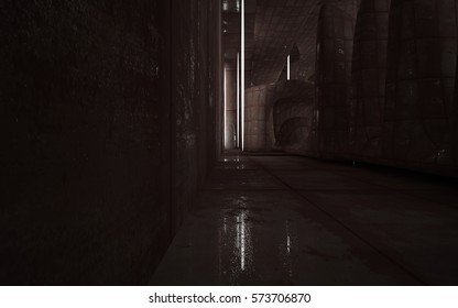 Empty smooth abstract room interior of sheets rusted metal. Architectural background. Night view of the illuminated. 3D illustration and rendering