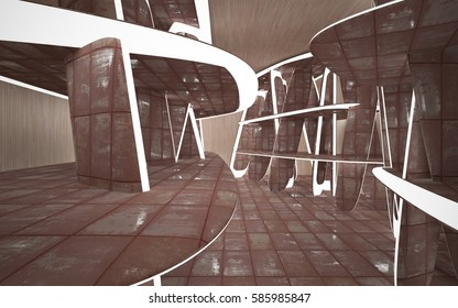 Empty smooth abstract room interior of sheets rusted metal and wood. Architectural background. Night view of the illuminated. 3D illustration and rendering