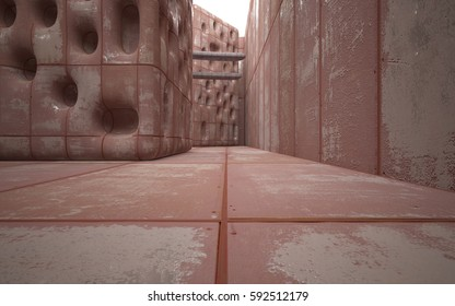 Empty smooth abstract room interior of sheets rusted metal and gray concrete. Architectural background. 3D illustration and rendering