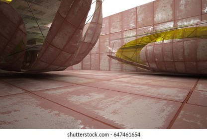 Empty smooth abstract room interior of sheets rusted metal and concrete with yellow glass. Architectural background. 3D illustration and rendering