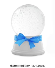 Empty snow globe with blue bow isolated on white