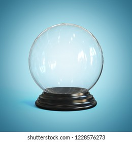 Empty snow globe, glass sphere 3d rendering