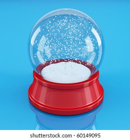 empty snow globe isolated on blue - rendering