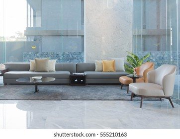 empty sofa and chair interior decoration in hotel lobby