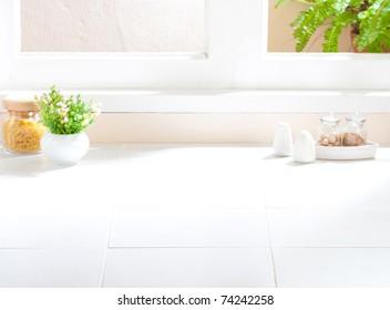 Espace vide de l'image intérieure de la cuisine pour y mettre vos idées ou vos produits