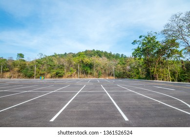 Empty space outdoor asphalt car parking lot in national park
