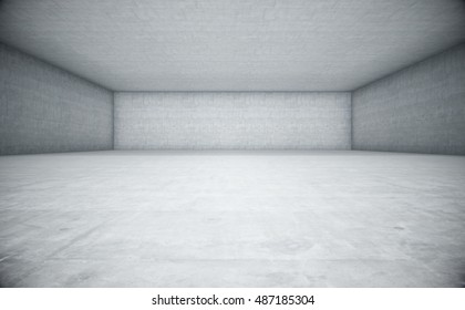 Empty space with white concrete. Abstract background. 3d Rendering.