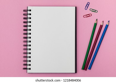 Top View Blank Spiral Notebook Multicolored Stock Photo Edit Now