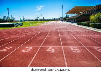 Empty sports stadium due to alarm status and coronavirus quarantine