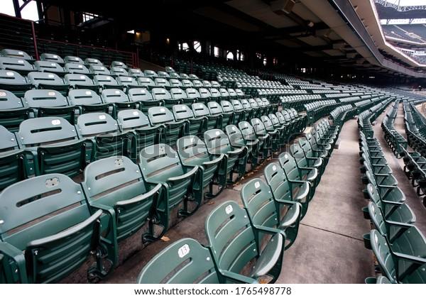 Empty sports stadium during the virus pandemic.