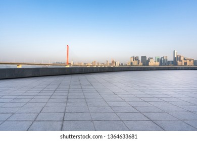 empty square with city skyline