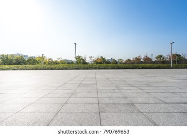 Empty square and floor with cityscape,skyline