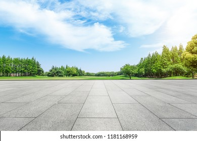 Empty square floor and green forest natural scenery in the city park