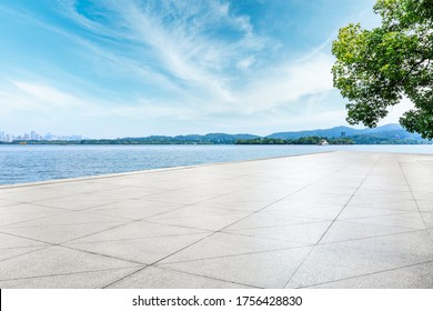 Empty square floor and West Lake scenery in Hangzhou,China.