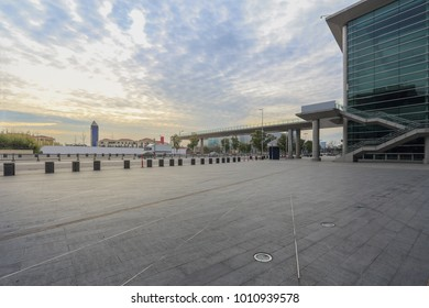 empty square and modern architecture in the city