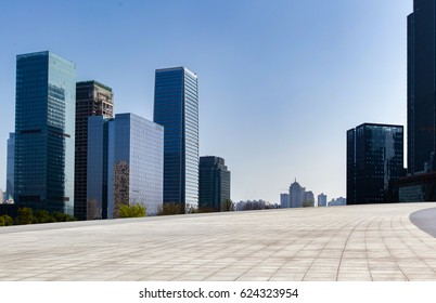 empty square and modern cityscape in downtown