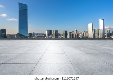 empty square with panoramic city skyline in shenzhen china
