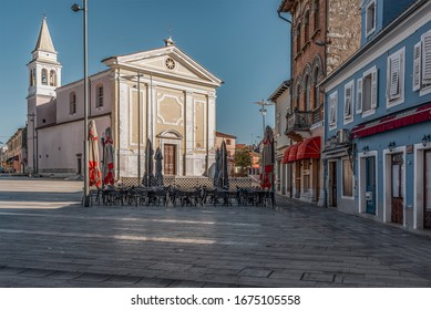 empty square in porec croatia - Shutterstock ID 1675105558