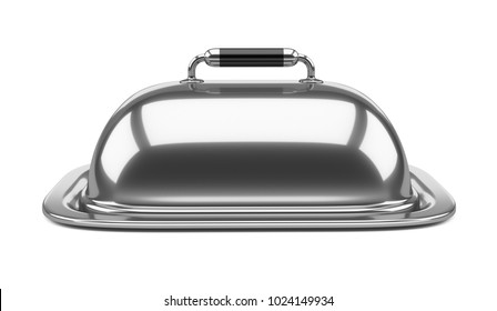 Empty square restaurant cloche with closed lid. 3d illustration over white background.