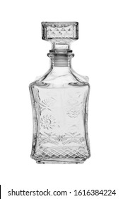 Empty square-shaped glass decanter, closed with a glass stopper. Isolated on a white background