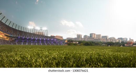 Empty stadium around blue sky day and sity landscape