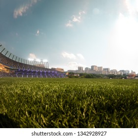 Empty stadium around blue sky day and sity landscape