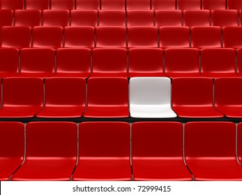 Empty stadium chairs, representing individuality - 3d render