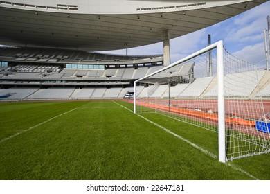 Empty stadium and the goal
