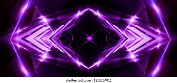 Empty stage background in purple color, spotlights, neon rays. Abstract background of neon lines and rays.