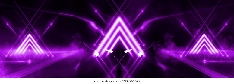 Empty stage background in purple color, spotlights, neon rays. Abstract background of neon lines and rays. Abstract background with lines and glow. Wet asphalt, the reflection of neon lights