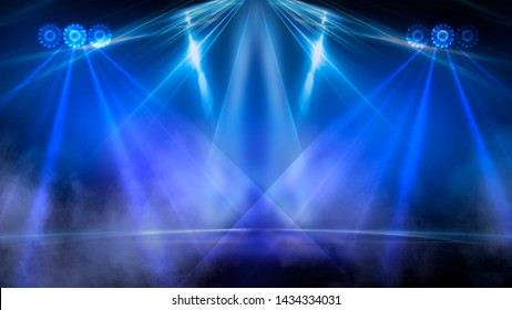 Empty stage, blue neon, abstract blue background. Rays of searchlights, light, abstract tunnel, corridor.
