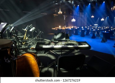 Empty stage and an event venue with instruments for the jazz band live show