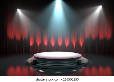 Empty stage podium with red curtains