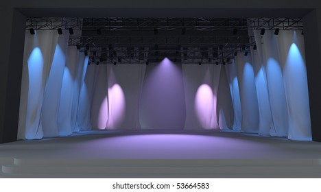 Empty stage with purple lights and curtain