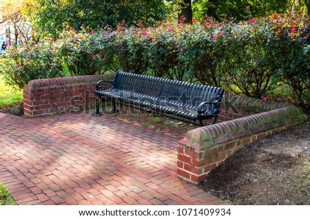 Empty Steel Bench surrounded by a  Wall and Rose Bushes along a Brick Footpath in a Public Park on a Sunny Autumn Day