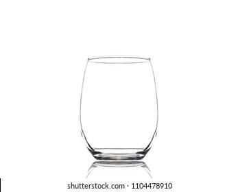 Empty stemless wine glass