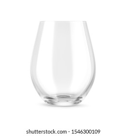 Empty stemless wine glass mock up isolated on white background