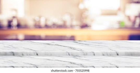 Empty step marble table top food stand with blur home kitchen background bokeh light,Mock up for display or montage of product,Banner for advertise on online media,business presentation