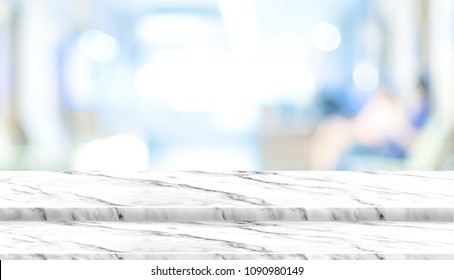Empty step white marble table top with blur patient waiting for doctor at hospital with bokeh light at background,Mock up template for display of your design,Banner for advertise of product.