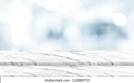 Empty step white marble table top with blur patient waiting for doctor at hospital with bokeh light at background,Mock up template for display of your design,Banner for advertise of product