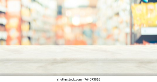 Empty step white stone table top food stand with blur supermarket background bokeh light,Mock up for display or montage of product,Banner for advertise on online media,business presentation