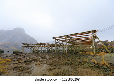 empty stock fish racks on Lofoten, Norway in fall with mountains in background